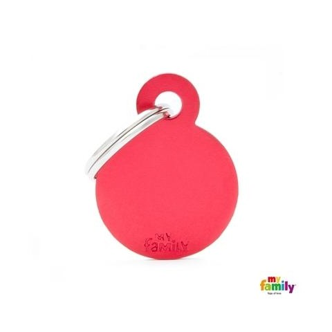 MEDAILLE COLLECTION SMALL ROUND ROUGE EN ALUMINIUM
